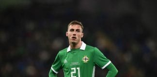BELFAST, NORTHERN IRELAND - SEPTEMBER 11: Gavin Whyte of Northern Ireland during the international friendly football match between Northern Ireland and Israel at Windsor Park on September 11, 2018 in Belfast, Northern Ireland. (Photo by Charles McQuillan/Getty Images)