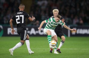 GLASGOW, SCOTLAND - SEPTEMBER 20: James Forrest of Celtic is challenged by Birger Meling of Rosenborg BK during the UEFA Europa League Group B match between Celtic and Rosenborg at Celtic Park on September 20, 2018 in Glasgow, United Kingdom. (Photo by Ian MacNicol/Getty Images)