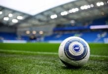 BRIGHTON, ENGLAND - SEPTEMBER 22: A general view inside the stadium of a practice ball prior to the Premier League match between Brighton & Hove Albion and Tottenham Hotspur at American Express Community Stadium on September 22, 2018 in Brighton, United Kingdom. (Photo by Charlie Crowhurst/Getty Images)