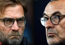 Jurgen Klopp, Manager of Liverpool (L) and Maurizio Sarri, Manager of Chelsea. Chelsea and Liverpool meet in a Premier League match on September 29,2018 at Stamford Bridge in London. Photo by Getty Images.