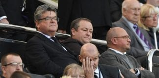 NEWCASTLE UPON TYNE, ENGLAND - SEPTEMBER 29: Newcastle owner Mike Ashley (c) flanked by Keith Bishop (l) and Lee Charnley look on from the stand during the Premier League match between Newcastle United and Leicester City at St. James Park on September 29, 2018 in Newcastle upon Tyne, United Kingdom. (Photo by Stu Forster/Getty Images)
