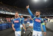 NAPLES, ITALY - OCTOBER 03: Dries Mertens, Lorenzo Insige players of SSC Napoli celebrate the victory after the Group C match of the UEFA Champions League between SSC Napoli and Liverpool at Stadio San Paolo on October 3, 2018 in Naples, Italy. (Photo by Francesco Pecoraro/Getty Images)