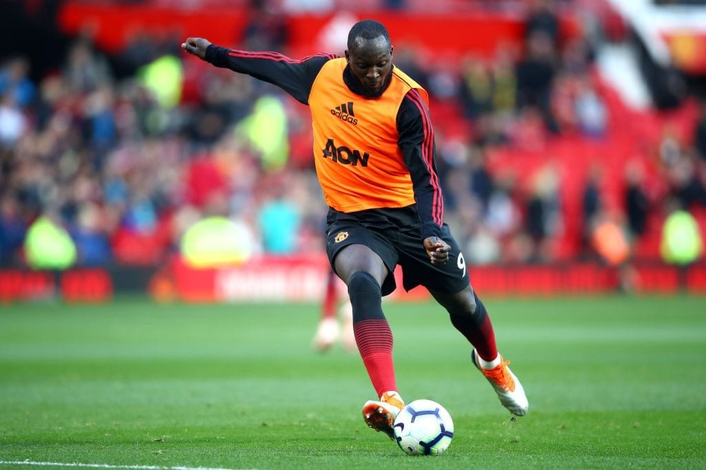 MANCHESTER, ENGLAND - OCTOBER 06: Romelu Lukaku of Manchester United warms up prior to the Premier League match between Manchester United and Newcastle United at Old Trafford on October 6, 2018 in Manchester, United Kingdom. (Photo by Clive Brunskill/Getty Images)