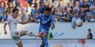 SINSHEIM, GERMANY - OCTOBER 07: Reiss Nelson of TSG 1899 Hoffenheim scores his first team`s goal during the Bundesliga match between TSG 1899 Hoffenheim and Eintracht Frankfurt at Wirsol Rhein-Neckar-Arena on October 7, 2018 in Sinsheim, Germany. (Photo by Christian Kaspar-Bartke/Bongarts/Getty Images)