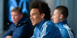 BERLIN, GERMANY - OCTOBER 10: Leroy Sane of Germany talks to the media during a press conference of the German national team at Mercedes-Benz am Salzufer on October 10, 2018 in Berlin, Germany. (Photo by Boris Streubel/Bongarts/Getty Images)