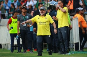 ZACATEPEC, MEXICO - OCTOBER 06: Diego Armando Maradona, coach of Dorados de Sinaloa gestures during the 11th round match between Zacatepec and Dorados as part of the Torneo Apertura 2018 Ascenso MX at Agustin 'Coruco Diaz Stadium on October 6, 2018 in Zacatepec, Mexico. (Photo by Hector Vivas/Getty Images)