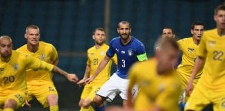 GENOA, ITALY - OCTOBER 10: Giorgio Chiellini of Italy in action during the International Friendly match between Italy and Ukraine on October 10, 2018 in Genoa, Italy. (Photo by Claudio Villa/Getty Images)