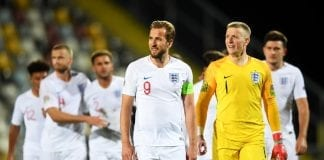RIJEKA, CROATIA - OCTOBER 12: Harry Kane and Jordan Pickford of England and team mates look on after the UEFA Nations League A Group Four match between Croatia and England at Stadion HNK Rijeka on October 12, 2018 in Rijeka, Croatia. The match is due to be played behind closed doors. (Photo by Michael Regan/Getty Images)