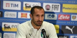 CHORZOW, POLAND - OCTOBER 13: Giorgio Chiellini of Italy speaks with the media during Italy press conference at Silesian Stadium on October 13, 2018 in Chorzow, Poland. (Photo by Claudio Villa/Getty Images)