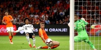 AMSTERDAM, NETHERLANDS - OCTOBER 13: Leroy Sane of Germany shoots on goal during the UEFA Nations League A group one match between Netherlands and Germany at Johan Cruyff Arena on October 13, 2018 in Amsterdam, Netherlands. (Photo by Alex Grimm/Bongarts/Getty Images)