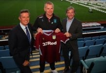 BIRMINGHAM, ENGLAND - OCTOBER 15: Chief Executive Christian Purslow, Dean Smith manager of Aston Villa and Sporting Director Jesus Garcia Pitarch during a press conference at Villa Park Stadium on October 15, 2018 in Birmingham, England. (Photo by Catherine Ivill/Getty Images)