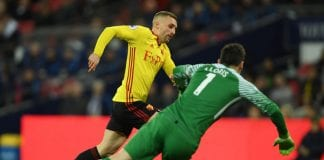 LONDON, ENGLAND - APRIL 30: Gerard Deulofeu of Watford rounds Hugo Lloris of Tottenham Hotspur to score but is offside during the Premier League match between Tottenham Hotspur and Watford at Wembley Stadium on April 30, 2018 in London, England. (Photo by Mike Hewitt/Getty Images)