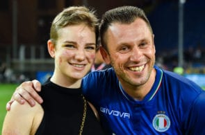 GENOA, ITALY - MAY 30: Paralympic athlete Bebe Vio (L) and former football player Antonio Cassano at the end of the 'Partita Del Cuore' Charity Match at Stadio Luigi Ferraris on May 30, 2018 in Genoa, Italy. (Photo by Paolo Rattini/Getty Images)