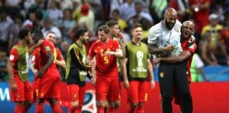 KAZAN, RUSSIA - JULY 06: Vincent Kompany of Belgium and Belgium assistant coach Thierry Henry celebrate following their sides victory in the 2018 FIFA World Cup Russia Quarter Final match between Brazil and Belgium at Kazan Arena on July 6, 2018 in Kazan, Russia. (Photo by Buda Mendes/Getty Images)