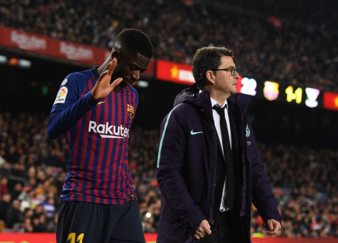 058451a0419 Barcelona have confirmed that Ousmane Dembele did indeed sustain an ankle  problem and will likely be out of action for two weeks