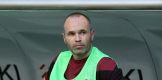 KOBE, JAPAN - JULY 22: (EDITORIAL USE ONLY) Andres Iniesta of Vissel Kobe is seen on the bench prior to the J.League J1 match between Vissel Kobe and Shonan Bellmare at Noevir Stadium Kobe on July 22, 2018 in Kobe, Hyogo, Japan. (Photo by Buddhika Weerasinghe/Getty Images)