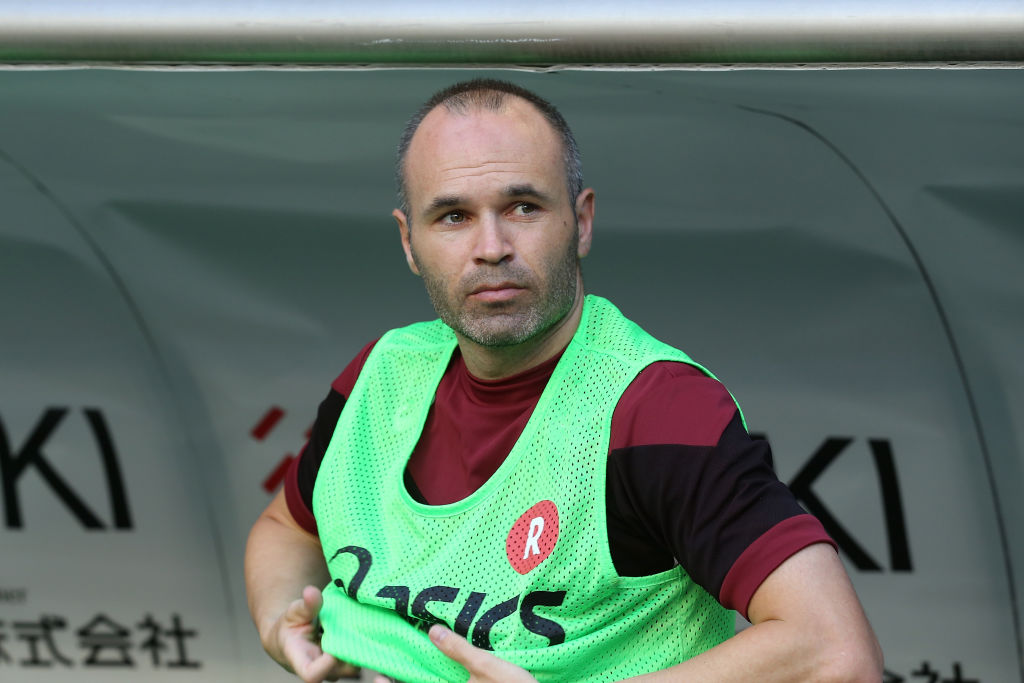 Andres Iniesta of Vissel Kobe is seen on the bench prior to the J.League J1 match between Vissel Kobe and Shonan Bellmare at Noevir Stadium Kobe on July 22, 2018 in Kobe, Hyogo, Japan. (Photo by Buddhika Weerasinghe/Getty Images)