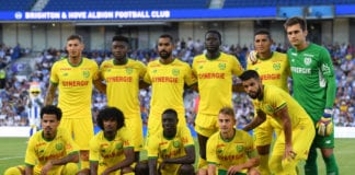 BRIGHTON, ENGLAND - AUGUST 03: Nantes players pose for a team photo ahead of a Pre-Season Friendly between Brighton and Hove Albion and FC Nantes at Amex Stadium on August 3, 2018 in Brighton, England. (Photo by Mike Hewitt/Getty Images)
