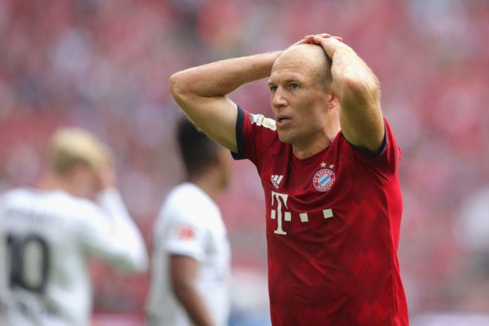 MUNICH, GERMANY - SEPTEMBER 15: Arjen Robben of Muenchen looks on during the Bundesliga match between FC Bayern Muenchen and Bayer 04 Leverkusen at Allianz Arena on September 15, 2018 in Munich, Germany. (Photo by Alexander Hassenstein/Bongarts/Getty Images)