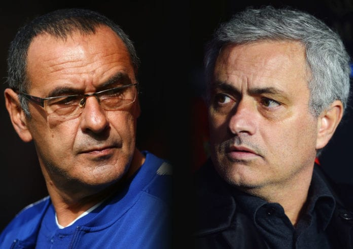 A comparison has been made between Maurizio Sarri, Manager of Chelsea (L) and Jose Mourinho, Manager of Manchester United. Chelsea FC and Manchester United meet in a Premier league fixture on October 20, 2018 at Stamford Bridge,London.***LEFT IMAGE*** SOUTHAMPTON, ENGLAND - OCTOBER 07: Maurizio Sarri, Manager of Chelsea looks on prior to the Premier League match between Southampton FC and Chelsea FC at St Mary's Stadium on October 7, 2018 in Southampton, United Kingdom. (Photo by Jordan Mansfield/Getty Images) ***RIGHT IMAGE*** SEVILLE, SPAIN - FEBRUARY 21: Jose Mourinho, Manager of Manchester United looks on during the UEFA Champions League Round of 16 First Leg match between Sevilla FC and Manchester United at Estadio Ramon Sanchez Pizjuan on February 21, 2018 in Seville, Spain. (Photo by Aitor Alcalde/Getty Images)