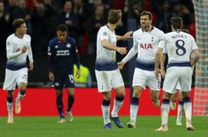 LONDON, ENGLAND - NOVEMBER 06: Harry Kane of Tottenham Hotspur celebrates with team mates Fernando Llorente and Harry Winks after scoring his team's first goal during the Group B match of the UEFA Champions League between Tottenham Hotspur and PSV at Wembley Stadium on November 6, 2018 in London, United Kingdom. (Photo by Richard Heathcote/Getty Images)