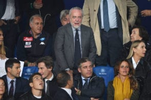 NAPLES, ITALY - NOVEMBER 06: Aurelio De Laurentiis, President of SSC Napoli, looks on prior to the Group C match of the UEFA Champions League between SSC Napoli and Paris Saint-Germain at Stadio San Paolo on November 6, 2018 in Naples, Italy. (Photo by Francesco Pecoraro/Getty Images)