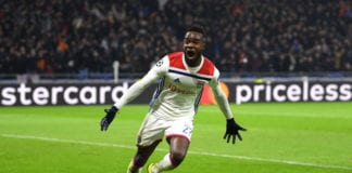 LYON, FRANCE - NOVEMBER 27: Maxwel Cornet of Olympique Lyonnais celebrates as he scores his team's second goal during the UEFA Champions League Group F match between Olympique Lyonnais and Manchester City at Groupama Stadium on November 27, 2018 in Lyon, France. (Photo by Shaun Botterill/Getty Images)