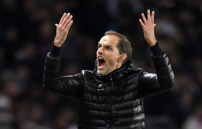 PARIS, FRANCE - NOVEMBER 28: Thomas Tuchel, Manager of Paris Saint-Germain reacts during the UEFA Champions League Group C match between Paris Saint-Germain and Liverpool at Parc des Princes on November 28, 2018 in Paris, France. (Photo by Shaun Botterill/Getty Images)