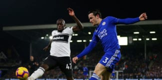 LONDON, ENGLAND - DECEMBER 05: Ben Chilwell of Leicester City crosses the ball under pressure from Aboubakar Kamara of Fulham during the Premier League match between Fulham FC and Leicester City at Craven Cottage on December 5, 2018 in London, United Kingdom. (Photo by Dan Istitene/Getty Images)