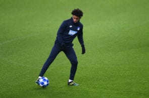 MANCHESTER, ENGLAND - DECEMBER 11: Reiss Nelson of 1899 Hoffenheim in action during the TSG 1899 Hoffenheim Training Session ahead of their UEFA Champions League Group H match against Manchester City at Etihad Stadium on December 11, 2018 in Manchester, England. (Photo by Nathan Stirk/Getty Images)