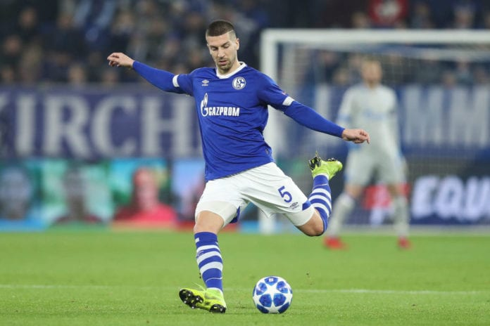 GELSENKIRCHEN, GERMANY - DECEMBER 11: Matija Nastasic #5 of FC Schalke 04 controls the ball during the UEFA Champions League Group D match between FC Schalke 04 and FC Lokomotiv Moscow at Veltins-Arena on December 11, 2018 in Gelsenkirchen, Germany. (Photo by Maja Hitij/Getty Images)