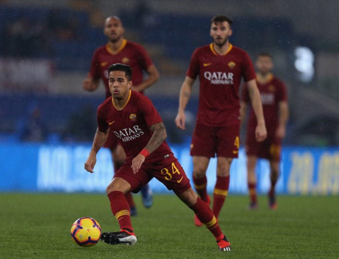 ROME, ITALY - DECEMBER 16: Justin Kluivert of AS Roma in action during the Serie A match between AS Roma and Genoa CFC at Stadio Olimpico on December 16, 2018 in Rome, Italy. (Photo by Paolo Bruno/Getty Images)