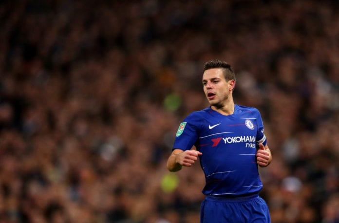 LONDON, ENGLAND - JANUARY 08: Cesar Azpilicueta of Chelsea during Carabao Cup Semi-Final between Tottenham Hotspur and Chelsea at Wembley Stadium on January 8, 2019 in London, England. (Photo by Catherine Ivill/Getty Images)