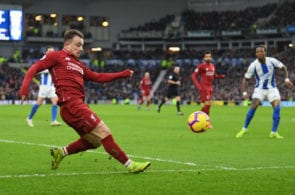 BRIGHTON, ENGLAND - JANUARY 12: Xherdan Shaqiri of Liverpool in action during the Premier League match between Brighton & Hove Albion and Liverpool FC at American Express Community Stadium on January 12, 2019 in Brighton, United Kingdom. (Photo by Mike Hewitt/Getty Images)
