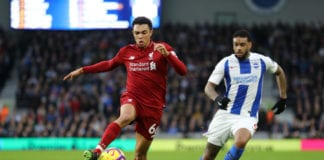 BRIGHTON, ENGLAND - JANUARY 12: Trent Alexander-Arnold of Liverpool battles for possession with Jurgen Locadia of Brighton and Hove Albion during the Premier League match between Brighton & Hove Albion and Liverpool FC at American Express Community Stadium on January 12, 2019 in Brighton, United Kingdom. (Photo by Bryn Lennon/Getty Images)