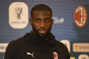JEDDAH, SAUDI ARABIA - JANUARY 13: Tiémoué Bakayoko of AC Milan speaks with the media before the Italian Supercup between Juventus FC and AC Milan on January 13, 2019 in Jeddah, Saudi Arabia. (Photo by Claudio Villa/Getty Images for Lega Serie A)