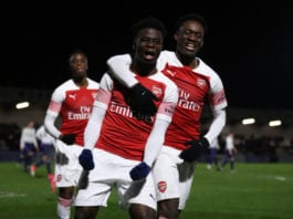 BOREHAMWOOD, ENGLAND - JANUARY 17: Bukayo Saka of Arsenal celebrates after he scores his sides second goal from the penalty spot with Folarin Balogun during the FA Youth Cup Fourth Round between Arsenal and Tottenham Hotspur at Meadow Park on January 17, 2019 in Borehamwood, England. (Photo by Catherine Ivill/Getty Images)