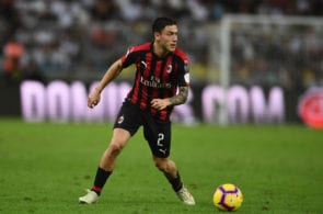 JEDDAH, SAUDI ARABIA - JANUARY 16: Davide Calabria of AC Milan in action during the Italian Supercup match between Juventus and AC Milan at King Abdullah Sports City on January 16, 2019 in Jeddah, Saudi Arabia. (Photo by Claudio Villa/Getty Images for Lega Serie A)