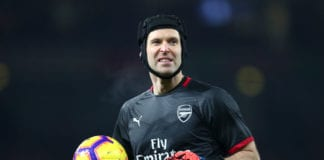 LONDON, ENGLAND - JANUARY 19: Petr Cech of Arsenal warms up prior to the Premier League match between Arsenal FC and Chelsea FC at Emirates Stadium on January 19, 2019 in London, United Kingdom. (Photo by Clive Rose/Getty Images)