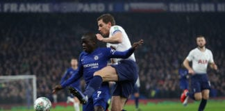 LONDON, ENGLAND - JANUARY 24: N'golo Kante of Chelsea is tackled by Jan Vertonghen of Tottenham Hotspur during the Carabao Cup Semi-Final Second Leg match between Chelsea and Tottenham Hotspur at Stamford Bridge on January 24, 2019 in London, England. (Photo by Christopher Lee/Getty Images)