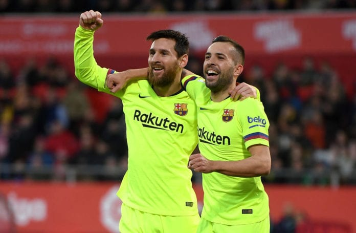 ae579629d Barcelona left-back Jordi Alba believes playing alongside Lionel Messi has  improved his game considering their telepathic partnership on the pitch.