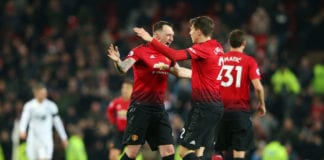 MANCHESTER, ENGLAND - JANUARY 29: Victor Lindelof of Manchester United celebrates after scoring his team's second goal with Phil Jones of Manchester United during the Premier League match between Manchester United and Burnley at Old Trafford on January 29, 2019 in Manchester, United Kingdom. (Photo by Alex Livesey/Getty Images)