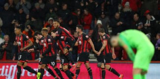 BOURNEMOUTH, ENGLAND - JANUARY 30: Charlie Daniels of AFC Bournemouth celebrates with teammates after scoring his team's fourth goal during the Premier League match between AFC Bournemouth and Chelsea FC at Vitality Stadium on January 29, 2019 in Bournemouth, United Kingdom. (Photo by Warren Little/Getty Images)