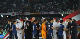 ABU DHABI, UNITED ARAB EMIRATES - FEBRUARY 01: Players of Japan receive their medals after the AFC Asian Cup final match between Japan and Qatar at Zayed Sports City Stadium on February 1, 2019 in Abu Dhabi, United Arab Emirates. (Photo by Francois Nel/Getty Images)