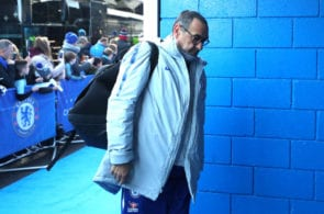 LONDON, ENGLAND - FEBRUARY 02: Maurizio Sarri, Manager of Chelsea arrives at the stadium prior to the Premier League match between Chelsea FC and Huddersfield Town at Stamford Bridge on February 2, 2019 in London, United Kingdom. (Photo by Catherine Ivill/Getty Images)