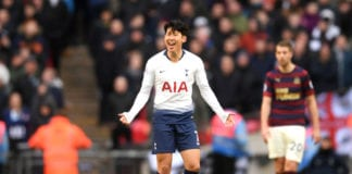 LONDON, ENGLAND - FEBRUARY 02: Heung-Min Son of Tottenham Hotspur celebrates after scoring his team's first goal during the Premier League match between Tottenham Hotspur and Newcastle United at Wembley Stadium on February 2, 2019 in London, United Kingdom. (Photo by Laurence Griffiths/Getty Images)