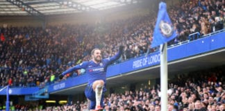 LONDON, ENGLAND - FEBRUARY 02: Gonzalo Higuain of Chelsea celebrates after scoring his team's first goal during the Premier League match between Chelsea FC and Huddersfield Town at Stamford Bridge on February 2, 2019 in London, United Kingdom. (Photo by Catherine Ivill/Getty Images)