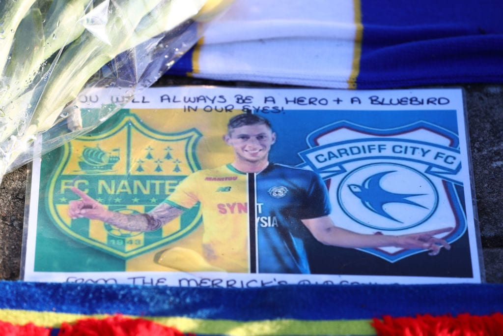 CARDIFF, WALES - FEBRUARY 02: Tributes to Emiliano Sala are seen outside the stadium prior to the Premier League match between Cardiff City and AFC Bournemouth at Cardiff City Stadium on February 2, 2019 in Cardiff, United Kingdom. (Photo by Michael Steele/Getty Images)