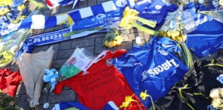 CARDIFF, WALES - FEBRUARY 02: Tributes to Emiliano Sala are seen outside the stadium prior to the Premier League match between Cardiff City and AFC Bournemouth at Cardiff City Stadium on February 2, 2019 in Cardiff, United Kingdom. (Photo by Warren Little/Getty Images)