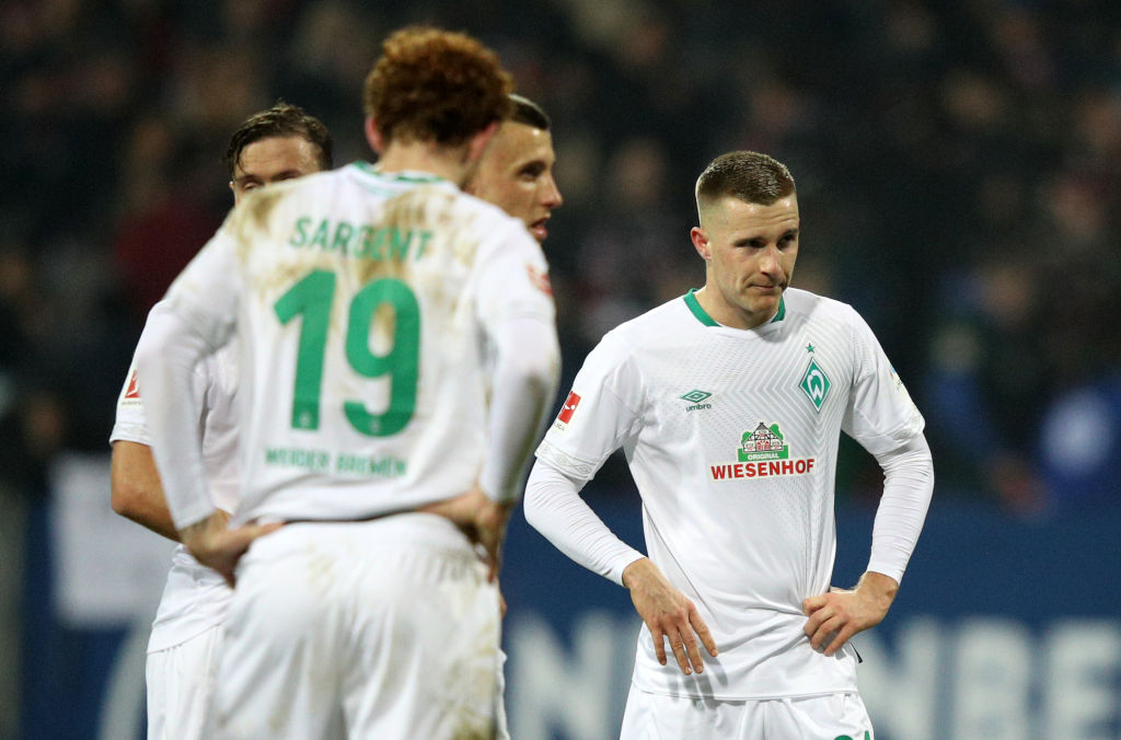 NUREMBERG, GERMANY - FEBRUARY 02: Johannes Eggestein of Werder Bremen reacts following a draw in the Bundesliga match between 1. FC Nuernberg and SV Werder Bremen at Max-Morlock-Stadion on February 2, 2019 in Nuremberg, Germany. (Photo by Adam Pretty/Bongarts/Getty Images)